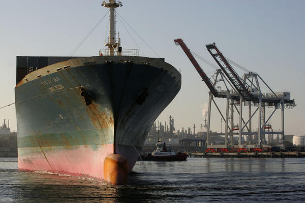 A file photo shows a cargo ship leaving the TraPac terminal at the Port of Los Angeles.