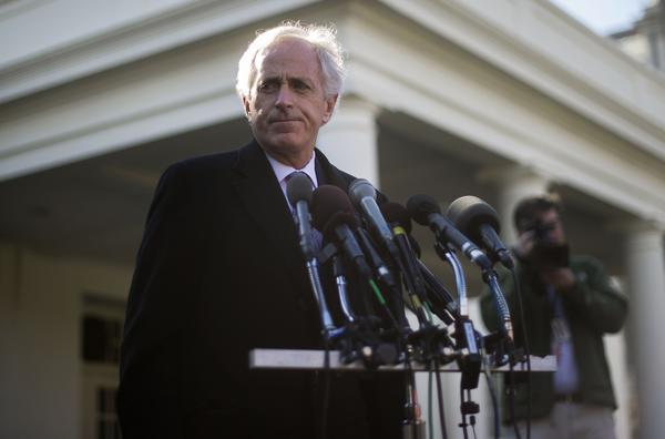 Sen. Bob Corker (R-Tenn.) talks with reporters Tuesday at the White House after a meeting with President Obama about Iran.