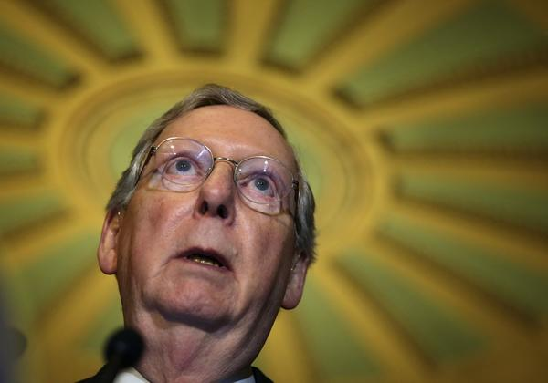 Senate Minority leader Mitch McConnell (R-Ky.)speaks to members of the media.