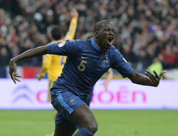Mamadou Sakho celebrates his second goal of the game during France's 3-0 victory.