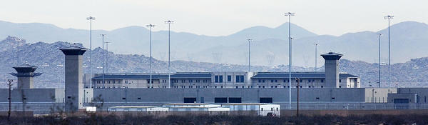 A file photo shows the federal correctional complex in Victorville.