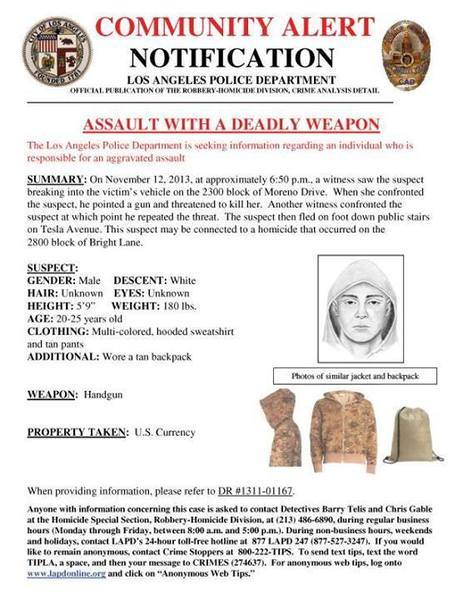 The Los Angeles Police Department has released a sketch of a suspect in a Silver Lake assault possibly connected to the slaying of the father of Assemblyman Mike Gatto.