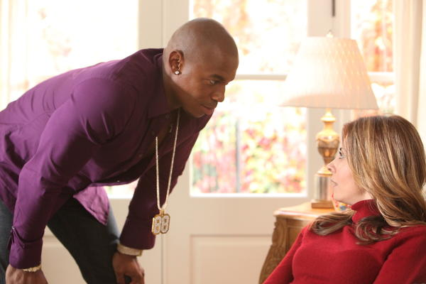 "Mehcad Brooks portrays TK, left, and Callie Thorne portrays Danielle Santino in a scene from ""Necessary Roughness."""