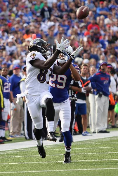 Ravens wide receiver Deonte Thompson makes a catch against the Buffalo Bills in September.