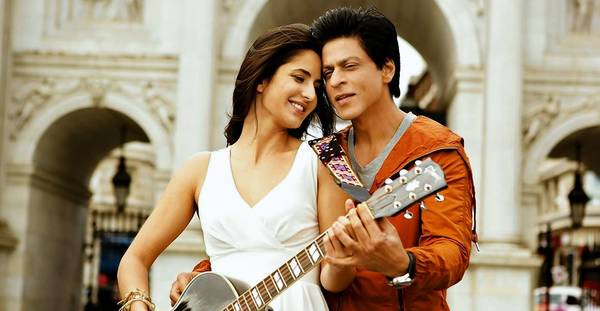 "Katrina Kaif and Shah Rukh Khan in the Bollywood movie ""Jab Tak Hai Jaan."""