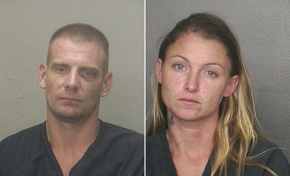 Daniel Atkinson (left) and Kimberly Fuller were arrested and accused of beating up three people in Pompano Beach