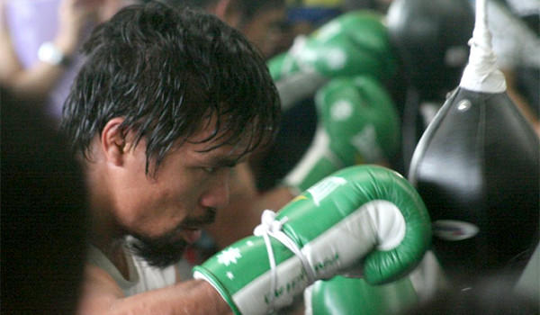 Manny Pacquiao, 34, trains at a gym on Oct. 24 ahead of his bout with Brandon Rios, 27, on Saturday in Macao.