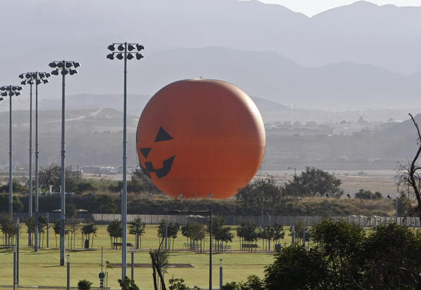 The 118-foot-high Great Park Balloon observation ride sits near athletic fields at the Great Park in Irvine.