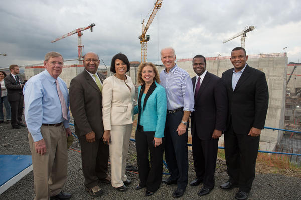 Vice President Joe Biden visits the Panama Canal Miraflores Expansion Site with (from left) Senator Johnny Isakson, Philadelphia Mayor Michael Nutter, Baltimore Mayor Stephanie Rawlings-Blake, Congresswoman Debbie Wasserman Schultz, Atlanta Mayor Kasim Reed, and Secretary of Transportation Anthony Foxx, in Panama City, Panama, November 19, 2013. (Official White House Photo by David Lienemann)
