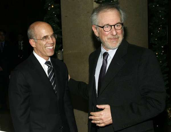 Jeffrey Katzenberg, left, and Steven Spielberg at a 2009 gala in Beverly Hills.