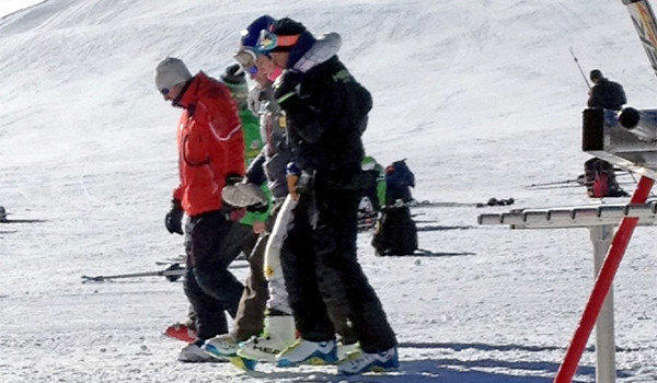 Reigning olympic downhill champion Lindsey Vonn is helped off the slope at Copper Mountain, Colo. on Tuesday following a crash during her training ahead of the 2014 Sochi Olympics.
