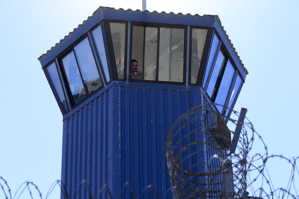 A guard watches from a tower at Pelican Bay State Prison in Crescent City.
