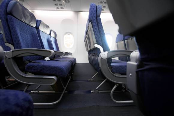 Main Cabin Extra portion of this American Airlines Boeing Sky Interior (BSI) 737
