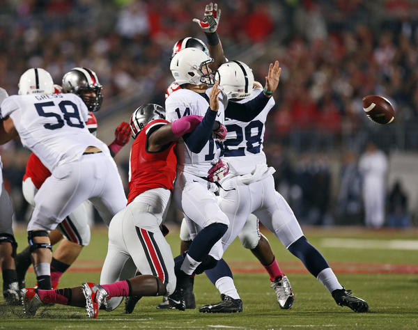 Penn State did not lose this fumble by quarterback Christian Hackenberg against Ohio State but has lost 12 others this seson, second-most in the Big Ten. Nebraska, which visits Beaver Stadium on Saturday, has lost a conference-high 13 fumbles.