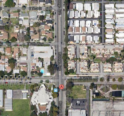 This satellite photo shows where the possibly gang-related shooting took place in Long Beach. Police said Long Beach a man and a child who were both wounded in the attack are expected to survive.