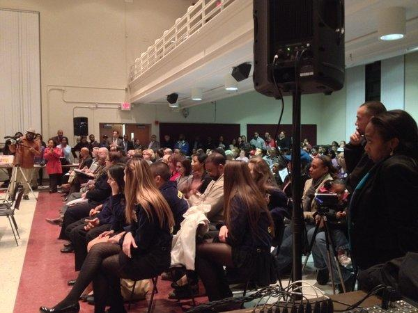 More than 200 people attended Tuesday night's board of education meeting in the Rawson School auditorium.