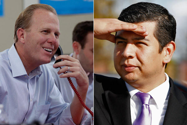 Kevin Faulconer, left, and David Alvarez