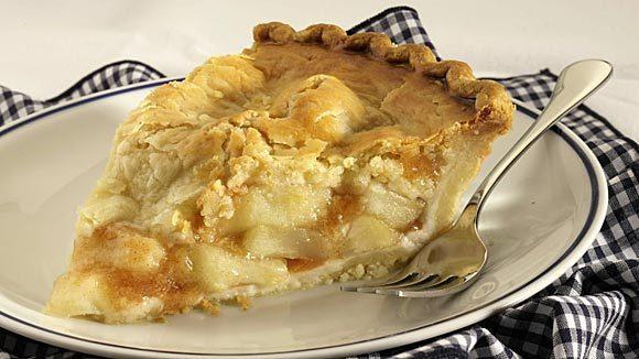 A slice of Sara Lee's frozen apple pie after baking.
