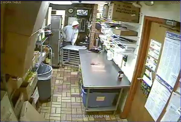 A surveillance photo of a person suspected of robbing a Subway restaurant on South Main Street in Marlborough on Tuesday afternoon.
