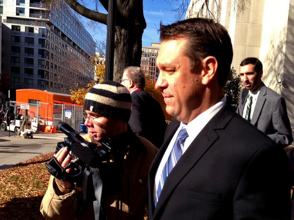 Rep. Trey Radel, (R-Fla.) leaving court in Washington after pleading guilty to a misdemeanor charge of cocaine possession.