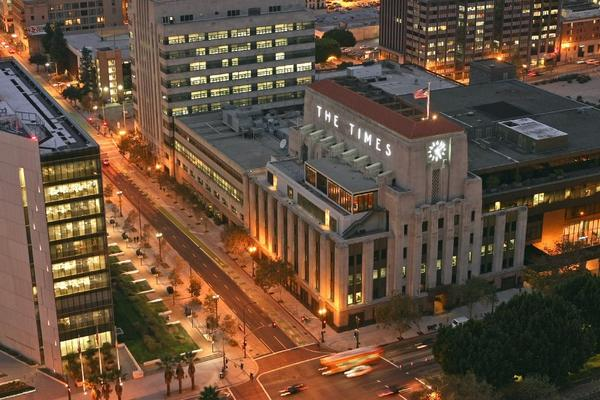 The Los Angeles Times building in downtown Los Angeles.