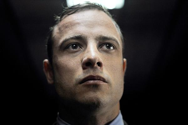 South African sprinter Oscar Pistorius appears at the Magistrate Court in Pretoria.