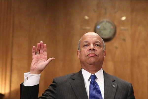 A Senate committee voted overwhelming Wednesday to send the nomination of Jeh Johnson as secretary of Homeland Security to the full Senate. Above, Johnson is sworn in to testify at his confirmation hearing.