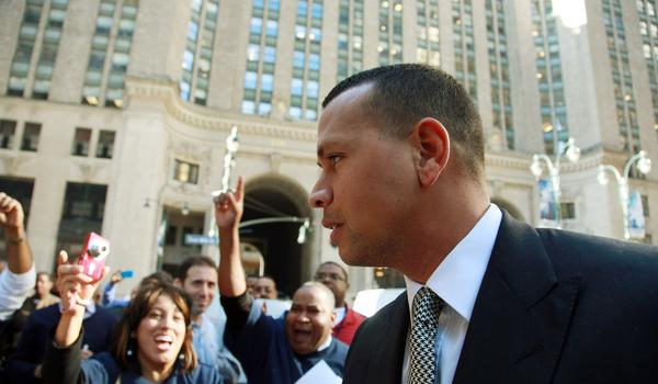 New York Yankees' Alex Rodriguez arrives at the offices of Major League Baseball in New York last month.
