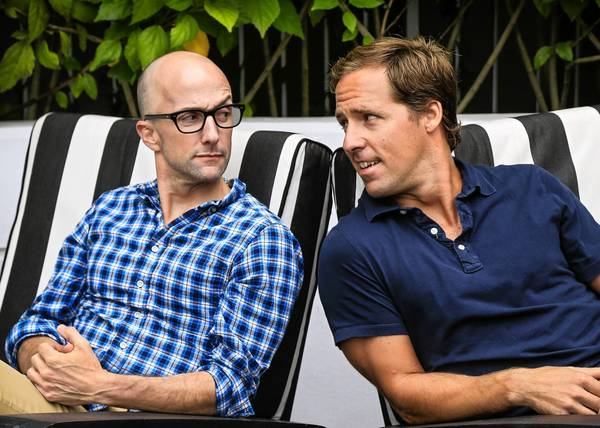 "Writer-directors Jim Rash, left, and Nat Faxon spent eight years working on getting ""The Way Way Back"" onscreen."