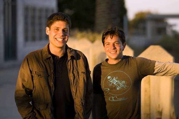 "Michael H. Weber, left, and Scott Neustadter on the set of the ""(500) Days of Summer,"" which was released in 2009. The writers' latest film is ""The Spectacular Now."""