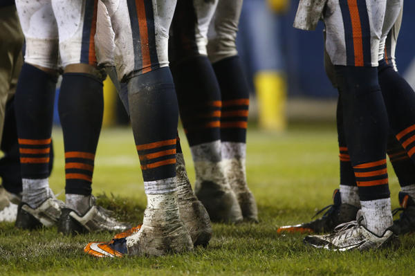 Chicago Bears players on the Soldier Field turf during Sunday's game against the Ravens.