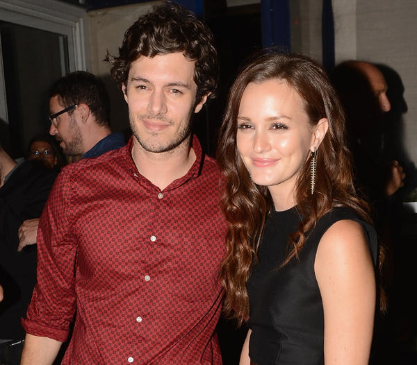 "Adam Brody and Leighton Meester are reportedly engaged. In this photo, the couple are shown attending the afterparty of the screening of their film ""The Oranges"" at Jimmy's at James Hotel in New York City."