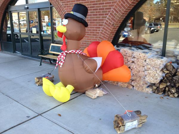 An inflatable turkey outside Fitzgerald's Supermarket in Simsbury on Wednesday for the annual Turkey Trot food drive.