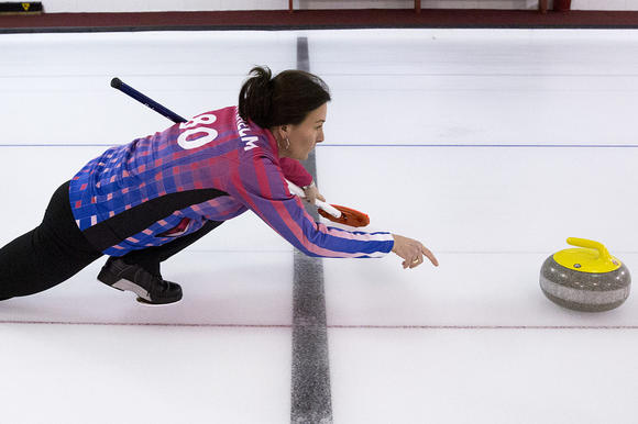 Chicago curler Ann Swisshelm, who just made the 2014 Olympic team, practices at Exmoor Country Club in Highland Park.  (Andrew A. Nelles / For The Chicago Tribune)