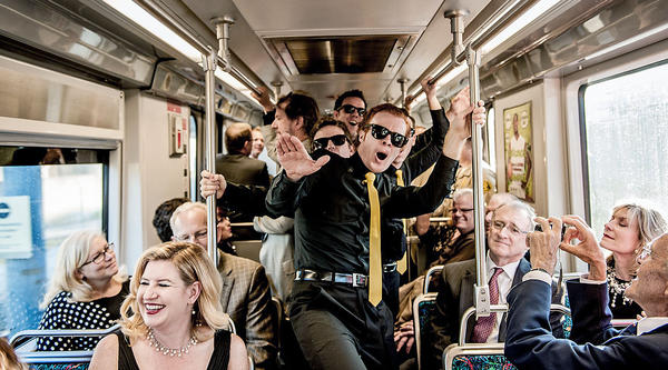 The barbershop quartet, the Moon Rays entertained Muse/ique gala guests on the Metro Gold Line to L.A.'s Union Station.