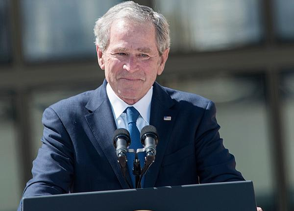 Former President George W. Bush speaks during a dedication ceremony at the George W. Bush Library and Museum in Dallas.