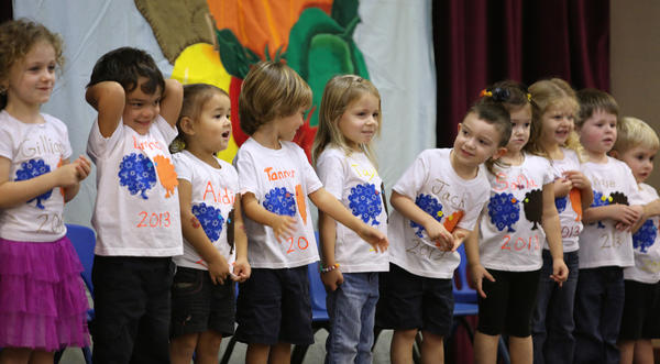 "Three and four-year-olds perform in the ""Latkes & Cranberry Sauce"" musical show at the Roth Jewish Community Center's Richard S. Adler Early Childhood Learning Center, in Maitland, Nov. 20, 2013."