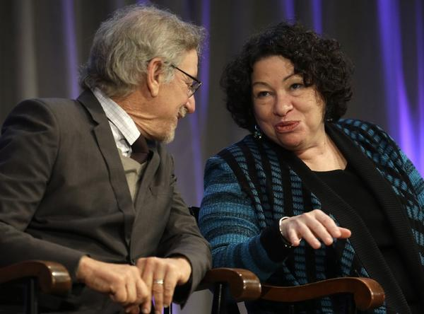 Supreme Court Justice Sonia Sotomayor, shown with director Steven Spielberg at a Harvard event last month, faulted an Alabama law.