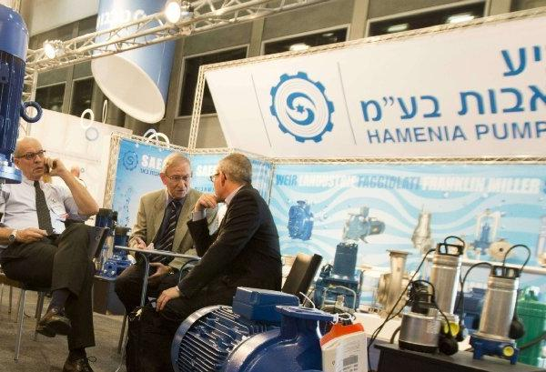 Pumps made by the Israeli company Hamenia Pumps are on display at WATEC, a water technology expo, in Tel Aviv last month.