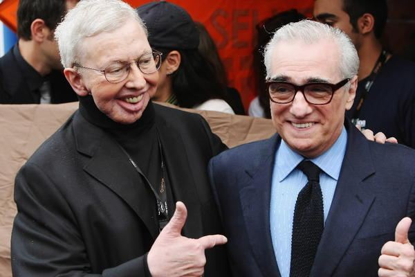 Roger Ebert and Martin Scorcese attend the Roger Ebert Conference Center Announcement held at the American Pavilion during the 62nd International Cannes Film Festival on May 15, 2009 in France.