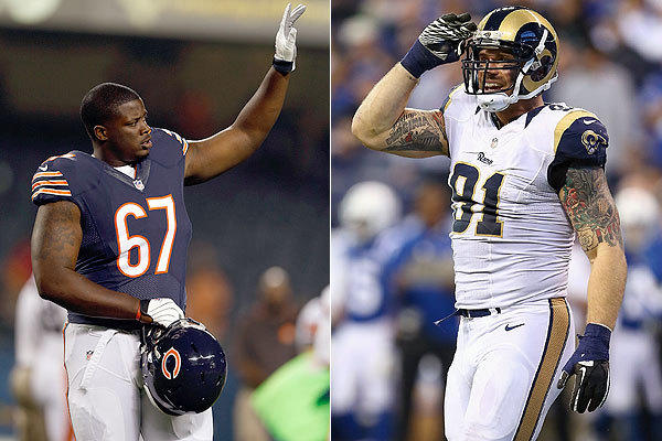 The Bears' Jordan Mills vs. the Rams' Chris Long.