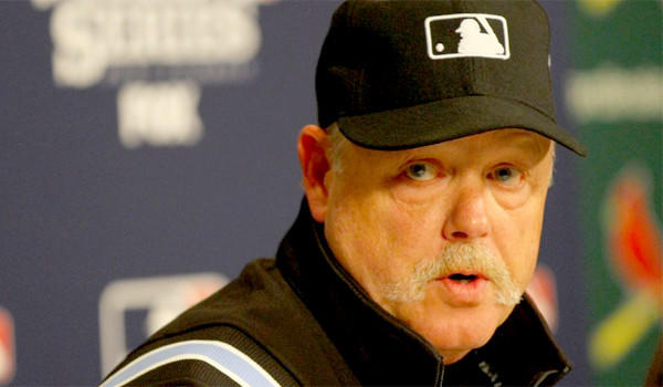 Umpire Jim Joyce participates in a news conference regarding the obstruction call against Will Middlebrooks of the Boston Red Sox during Game 3 of the World Series that lead to the game-winning run for the St. Louis Cardinals. Boston defeated St. Louis, 4-2- in the series to claim its third title in the past 10 years.
