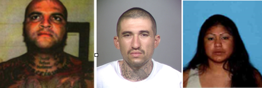 Martin Madrigal-Cazares, left, Librado Navarrete and Lina Fuentes were charged with 14 others in a drug trafficking case in Ventura County. The three suspects are believed to be in Mexico.
