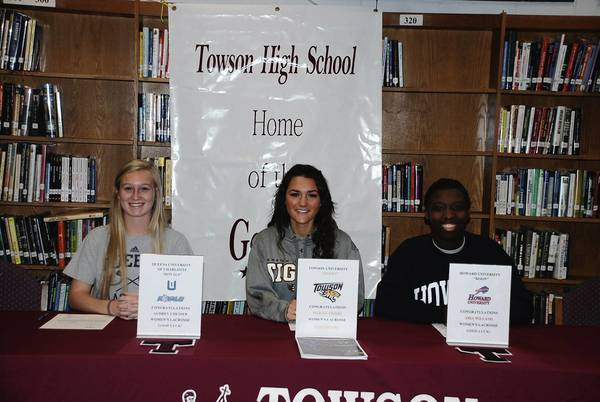 Towson High lacrosse players Audrey Chesser, Maddie Tribbe and Aria Williams signed National Letters of Intent to play lacrosse at their respective colleges.