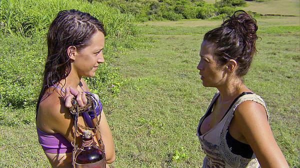 "Ciera Eastin (left) and Laura Morett on ""Survivor: Blood vs. Water."""