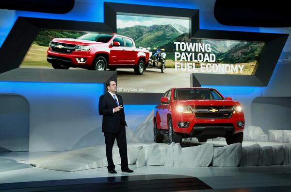 Mark Reuss, president of General Motors Co. North America, speaks during the L.A. Auto Show in Los Angeles.