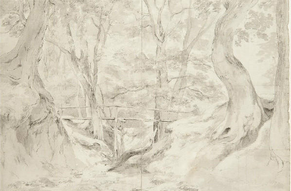 A detail of a landscape sketch by John Constable that was sold as part of the collection of Valerie Eliot, the widow of T.S. Eliot.