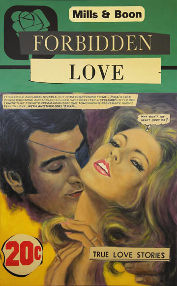 A vintage paperback-inspired painting by The Connor Brothers, showing at Guy Hepner Gallery.