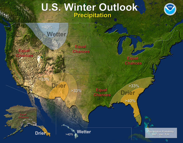 A lack of an El Nino or La Nina climate pattern means uncertainty over the possibility of snow or rain for most of the country.