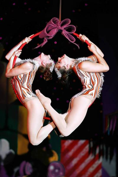 """Soaring Reindeers"" act in Cirque Dreams Holidaze coming Nov. 26 to the Ferguson Center for the Arts"